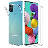 ILUXUS Klar Silikon Hülle für Samsung Galaxy A51 handyHülle mit Panzerglas, Galaxy A51 handyHülle transparent Ultra Silikon Bumper Cover TPU Ultra Slim Schutzhülle für Galaxy A51 Schutzfolie