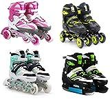 SportVida Inline Skates Kinder Erwachsene Inliner 4in1 | Verstellbare Schlittschuhe | Triskates Größenverstellbar ABEC7 Lager | Rollschuhe in Größen 31-42 | Pink Blau Grün Türkis (Grün, 31-34)