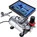 Timbertech Airbrush-Set mit Kompressor, Double Action Airbrush Pistole und Zubehör (Düsen, Schlauch etc..)