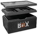 THERM BOX Styroporbox Groß 40 Liter mit Kühlfach Isolierbox Thermobox Warmhaltebox Kühlbox Thermobehälter GN Innen: 53,9x34x21,9cm Wiederverwendbar