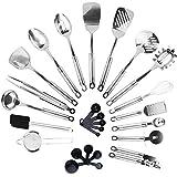 KRONENKRAFT 26 teiliges Küchenset aus Edelstahl Küchenutensilien Set, Küchenzubehör, Kochset, Kochzubehör Set