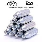 ICO - CO2 Kapseln 16g mit Gewinde - 10 X CO2 Kartusche für Fahrrad Minipumpe CO2