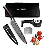 Salqinos Kochmesser Küchenmesser 20CM Chefmesser 7cr17mov Profi Messer aus hochwertigem Carbon Edelstahl mit Messerschäfer 3 Stufen, Fingerschutz und Messerhülle in Geschenkbox