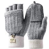 Homealexa Handschuhe Fingerlose Damen Winterhandschuhe, Strick Fingerhandschuhe mit Flip-Top, Warm Handschuhe für Skifahren Radfahren und SMS, Geeinget für Damen und Herren(Fingerlos(grau))