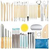 GuKKK Modellier-Werkzeug Sculpting Werkzeug, 46 Pcs Polymer Clay Werkzeuge, Komplett Pottery Werkzeug-Set, Circular Clay Loch Cutters, Ball Stylus Dotting Tools, für Kunsthandwerk, Skulptur, Anfänger