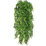 HUAESIN 2pcs Künstliche Hängepflanzen Lang Persischer Farn Kunstpflanze Hängend Plastikpflanzen Künstliche Pflanze Efeu Groß Grünpflanzen für Innen Außen Balkon Wand Topf Garten Deko 115cm