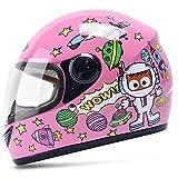 Kinderhelm Elektrisches Motorrad Junge Weibliches Kind Baby Vier Jahreszeiten Cartoon Helm Sommer Half Helm (Color : Pink)