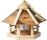 dobar Aufwendiges Design-Vogelhaus Natural Camouflage mit Futtersilo,6-eckige Wildvogel-Futterstation zum Aufhängen, 35 x 35 x29 cm