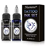 Ink Tattoo, Temporäre Tattoos, Tattoofarbe Schwarz, Temporäre Tattoos Ink 30 ml für blau schwarzes Tattoo, Professionelle Tattoofarbe Set für Männer Frauen, 30 ml X 2