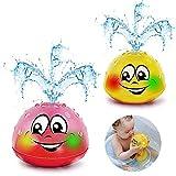 Addmos Badewannenspielzeug, Baby Spielzeug, 2 x Wasser Baby Badespielzeug mit Licht für 1 2 3 4 5 Jahre alte Jungen Mädchen Gelb & Pink (EIN Paar)