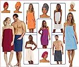 NATURA WALK Damen und Herren Saunakilt, Bio-Baumwolle,NEUHEIT: Schlingenfeste Qualität, kein Fädenziehen mehr (Hellblau, Damen S - L)
