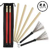 5A Drumsticks 2 Paar klassische hochwertige Ahorn-Drum-Stick-Sets mit einziehbarer Drahttrommelbürste und professioneller neuer Stil-Bundle-Drum-Stick-Dowel-Drumsticks plus wasserdichte Tasche