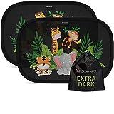 Systemoto Auto Sonnenschutz für Babys - Extra dunkel - Zertifizierter UV-Schutz - 2er Set Selbsthaftende Sonnenblenden für Kinder (Wildlife)