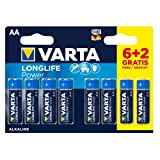 VARTA Longlife Power AA Mignon LR6 Batterie (6+2er Pack) Alkaline Batterie - Made in Germany - ideal für Spielzeug Taschenlampe Controller und andere batteriebetriebene Geräte