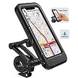 Lifelf Fahrrad Handyhalterung, wasserdichte Smartphone Halter mit Touch-Screen, 360° Drehbare, Höhenverstellbar für iPhone Samsung Galaxy Huawei zu 6,7 Zoll, für Fahrrad Motorrad, Schwarz(20x10x6 cm)