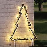 LED Gartenstecker Tanne mit 175 LED - 60x53 cm - Garten Deko Tannenbaum beleuchtet - Weihnachstbaum Außen