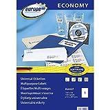 europe100 ELA027 Universal Etiketten A4 (210x297 mm, 100 Etiketten auf 100 Blatt, selbstklebend, 3478) weiß
