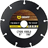 Hartmetall Flexscheibe für Holz GRAFF® Termit 125mm, Winkelschleifer Multi Wheel Trennscheibe (wood carving disc) zum Schneiden von Holz, Kunststoff und Plastik, Speedcutter (125 mm)