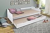 HOMELINE Funktionsbett 90x200 Massiv Holz Weiss Ausziehbar Bett Jugendbett 90x200 cm