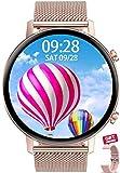 Aliwisdom Smartwatch für Herren Damen Kinder, 1,3 Zoll HD Rund Smartwatch Fitness Uhr Wasserdicht Sport Armbanduhr Fitness Tracker Metallarmband für iOS Android, Mit Whatsapp Funktion (Roségold)