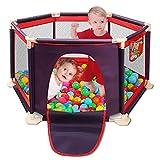 Spielplatzzaun für Kinder mit Laufgitter, Zaun, Spielcenter tragbar und atmungsaktivem Mesh für Neugeborene, Indoor- und Outdoor-Spiele (Bälle nicht enthalten) (rot)