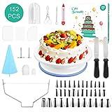 Fostoy Kuchen Drehteller,Tortenplatte Drehbar Tortenständer Spritztüllen Set, 152 Stück Tortenzubehör-Set mit Zuckerguss, Spritzbeutel und Tipps-Set, Vereisungsspachtel und glatter, Gebäckwerkzeug