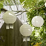 Lights4fun 3x LED Solar Lampions mit Fransen Solarbetrieb 35cm