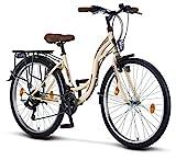 Licorne Bike Stella (Beige) 26 Zoll Damenfahrrad, CTB ab 145 cm, Fahrrad-Licht, Shimano 21 Gang-Schaltung, Damen-Citybike, Mädchen-Citybike, Mädchenfahrrad