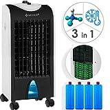 KESSER® 3in1 Mobile Klimaanlage | Klimagerät | Ventilator Klimaanlage | 4 L Tank Timer 3 Stufen | Ionisator Luftbefeuchter | Luftkühler | Farbe Weiß/Schwarz