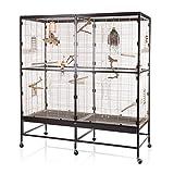 Montana Cages ® | Vogelvoliere Paradiso 150 | Choco - Vanille | artgerechter Wellensittichkäfig | Voliere für Wellensittiche, Nymphensittiche & Co.