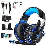 Gaming Kopfhörer für PS4 PC Computer, Professioneller 3,5mm Gaming Headset|Stereo Sound Mikrofon mit Rauschunterdrückung und Lautstärkeregler|Egonomisches Design, geringes Gewicht (Blau)