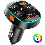 Bovon Bluetooth FM Transmitter QC3.0 Auto Ladegerät, Bluetooth Auto Adapter Radio Transmitter [mit 7 Farbiges Umgebungslicht], Kabellose KFZ Freisprechanlage, Unterstützt TF Karte/USB-Stick