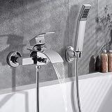 WOOHSE Chrom Badewannenarmatur Wasserfall Badewanne Wasserhahn inkl. mit handbrause und Brauseschlauch 150cm Einhebelmischer zur Wandmontage DN 15 Badewannenarmatur für Bad Badezimmer
