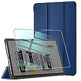AROYI Hülle Kompatibel mit Samsung Galaxy Tab A7 10.4 2020 und Panzerglas, Ultra Schlank Schutzhülle Hochwertiges PU mit Standfunktion Glas Panzerfolie, Dunkelblau