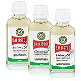 BALLISTOL 3 Glasflaschen a 50 ml, Kriechöl Waffenöl Universalöl Pflegeöl