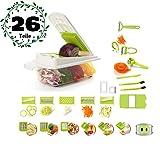 MyTNN 26-teiliges Set Gemüseschneider Zerkleinerer Zwiebelschneider Obstschneider Kartoffelschneider Multischneider Kartoffelschäler Gemüsehobel Obst- und Gemüse-Schneider NEU