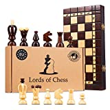 Amazinggirl Schachspiel Schach Holz Schachbrett - Chess Set für Kinder hochwertig groß klappbar mit Figuren (35X35 cm, Schach)
