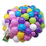 EKNA Spielbälle Ø 5cm - Bällebad Bälle 200 Stück - Bunte Auswahl für Bällebad-Pool - Plastikbälle Baby-Bälle Farben Hellgrün Hellblau Gelb Rosa Weiß Lila