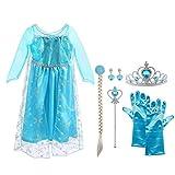 Vicloon Ice Queen Prinzessin Kostüm Kinder Deluxe Fancy Blaues Kleid,Accessoires und Schuhe für Mädchen, Weihnachten Verkleidung Karneval Party Halloween Fest-3-4 Jahre Size 110 cm-Blau
