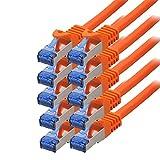 BIGtec - 10 Stück - 0,25m CAT.7 Gigabit Patchkabel Netzwerkkabel orange Kupferkabel Patch Ethernt LAN DSL Kabel CAT7 (RJ45, Cat 7, S/FTP PIMF) 25cm