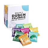 WALTZ7 Original Duschbomben Set, 16 Stück mit 8 Düften, Aromatherapie Duschtabs mit natürlichen ätherischen Ölen, Wellness Geschenk Set, Qualitätsmarke aus Österreich