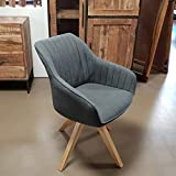 Lifestyle For Home Stuhl Sessel Swivel Retro Polsterstuhl Esszimmerstuhl mit Massivholz Gestell drehbar (anthrazit)