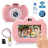 RAYROW Kinderkamera,Digital Fotokamera Selfie Videokamera mit 28 Megapixel/1080P HD/3.0 Zoll Bildschirm,Unterstützt WiFi&Touchscreen,Spielzeug Geburtstagsgeschenk für Jungen Mädchen Alter 3-12(Rosa)