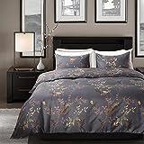 Qucover Mikrofaser Bettwäsche Bettbezug 135 x 200 cm + Kissenbezug 80 x 80 cm 2 Teilige Bettwäsche Set mit Reißverschluss Dunkelgrau