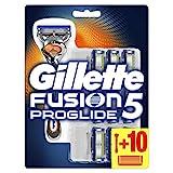 Gillette Fusion 5 ProGlide Rasierer Herren mit Trimmer für Präzision und Gleitbeschichtung, Rasierer + 10 Rasierklingen
