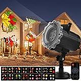 Qomolo Projektor Weihnachten LED Projektionslampe Wandbeleuchtung Weihnachten Wasserdichte Außenbeleuchtung mit 16 Motiven Fernbedienung für Halloween Weihnachten Ostern Geburtstag Party