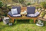 Outzone BremsDich, verwandelbare Holzgartenbank zum Liegen und Sitzen, mit aufklappbarem Tisch für 2-3 Personen