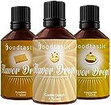 Foodtastic Flavor Drops Cookie & Cake Bundle 3 Sorten I Flavdrops Aroma Tropfen I Quark, Wasser oder Porrdige kalorienfrei Süßen I vegan, glutenfrei und ohne Zucker