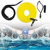 Outinhao Einstellbare Pool Schwimmgurt, Schwimmwiderstand Gürtel, Kinder, Erwachsene, Schwimmtrainer Gürtel Leine Pool Trainingshilfegurt (3M,Yellow)