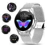 Smartwatch für Damen, elegant und hochwertig, Edelstahl, IP68, wasserdicht, Smartwatch, Fitness-Tracker mit Herzfrequenz, Schlafüberwachung, Kalorien, Schrittzähler, Aktivitäts-Tracker, Silber